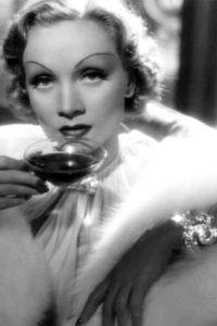 Greta Garbo drinking coffee
