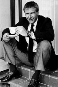 Harrison Ford drinking coffee