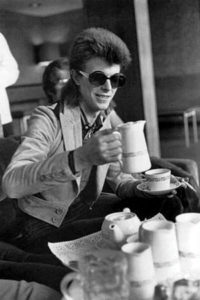 David Bowie drinking coffee