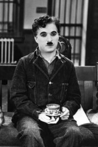 Chaplin drinking coffee